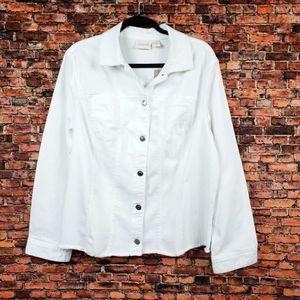 Chico's Basic Denim Jacket in Alabaster White